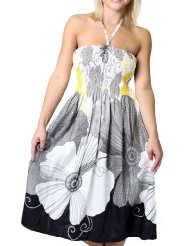 Sundress for Women - One-size-fits-all Tube Dress/Coverup - Black Floral Print