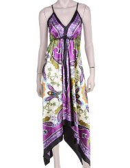 Sundresses for Women - Butterfly Paisley Design Silk Feel Handkerchief Hem Criss Cross Back Adjustable Maxi / Long Dress ( Free Shipping ! )