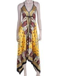 Sundress for Women - Silk Feel Handkerchief Hem Criss Cross Back Adjustable Maxi / Long Dress ( Free Shipping ! )