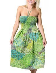 Alki'i Women's One-size-fits-all Tube Sundress/Coverup with Peacock Print (many colors)