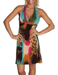 Sundress for Women - Alki'i Fusion Leopard Print Halter Casual Evening Party Cocktail Dress
