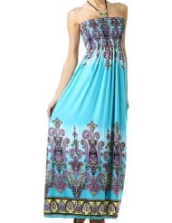 Paisley Graphic Print Beaded Halter Smocked Bodice Maxi / Long Sundress
