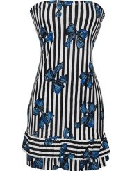 Sundresses for Women - Strapless Jersey Striped Bow Print Ruffle Tube Mini Dress Sundress