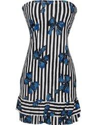 Sundresses for Women - Strapless Jersey Striped Bow Print Ruffle Tube Mini Dress Sundress