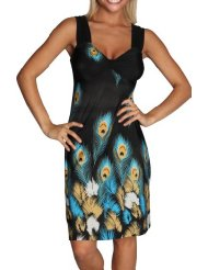 Sundress - Alki'i Peacock Feather Print Casual Evening Party Cocktail Dress