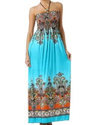 Sundress - Paisley Graphic Print Beaded Halter Smocked Bodice Maxi / Long Dress ( Blue + 7 Colors )