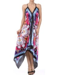 Flower and Leaves Print Satin Pleated V-Neck Halter Handkerchief Hem Maxi / Long Dress ( 2 Colors ) - Sundress