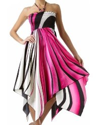 Sundress - Swirl Design Satin Feel Beaded Halter Smocked Bodice Handkerchief Hem Dress (2 Colors)