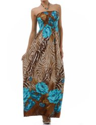 Rose and Zebra Graphic Print Beaded Halter Smocked Bodice Maxi / Long Dress ( 2 Colors ) - Sundress