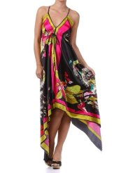 Sundress - Floral Cherry Design Silk Feel Handkerchief Hem Criss Cross Back Adjustable Maxi / Long Dress ( 2 Colors )