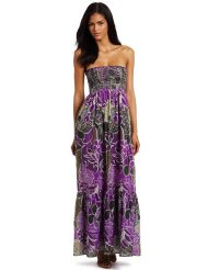 Just For Wraps Women's Tube Printed Smock Maxi - Sundress