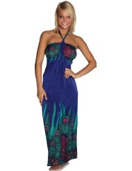 Alki'i Peacock Print Casual Evening Party Cocktail Long Maxi Dress - Sundress