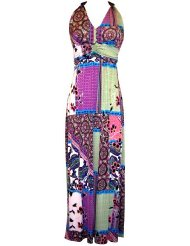 Sundress - Print Stretch Jersey Maxi Dress with Beaded Accents Junior Plus Size