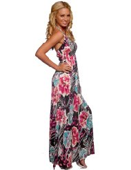 Sexy Halter Designer Gown Multi Color Print Stretch Surplice Womens Long Maxi Dress - Sundress