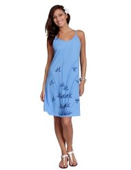 Women's Classic Summer Sundress by 1 World Sarongs in Asian Floral Light Blue