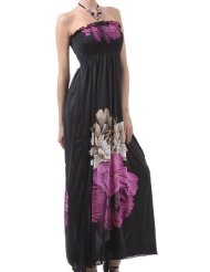 Sundress - Two Flowers on Solid Black Graphic Print Beaded Halter Smocked Bodice Long / Maxi Dress ( 3 Colors ) - Clearance Sale !