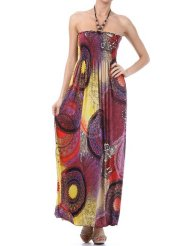 Sundress - Multi Color Round Dials Print Beaded Halter Smocked Bodice Long / Maxi Dress ( 4 Colors ) - Clearance Sale !