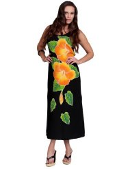 Women's Long Dress with Hand Painted Batik Hibiscus Design Plus Size Sundress up to X-Large