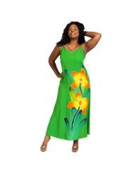 Plus Size Sundress Casual Long Dress with Hand Painted Orchid (Up to XL)