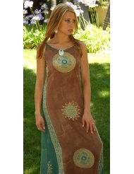 Women's Long Casual Baliku Dress by 1 World Sarongs in Brown/Green Plus Size Sundress (up to XL)