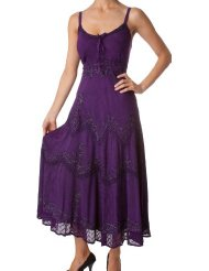 Sundress for Women Stonewashed Rayon Embroidered Adjustable Spaghetti Straps Long Dress Under $50