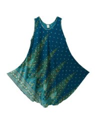 Pikulla Half Moon Sleeveless Women's Peacock Gypsy Sundress Multicoloured X-Large