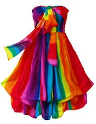 Pikulla Balloon Hem Women's Rainbow Hippie Gypsy Sundress Multicoloured One Size SML