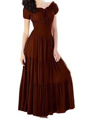 Meaneor Women Boho Cap Sleeve Smocked Waist Tiered Renaissance Summer Maxi Dress