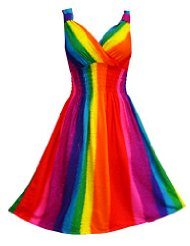 Pikulla V-Neck Sleeveless Women's Rainbow Gypsy Sundress Multicoloured One Size SM