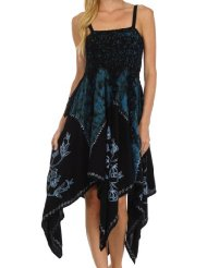 Sakkas 164 Amara Batik Handkerchief Hem Dress - Black / Blue - One Size